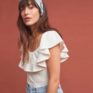 NWT! ANTHROPOLOGIE TEXTURED OFF-THE-SHOULDER TOP